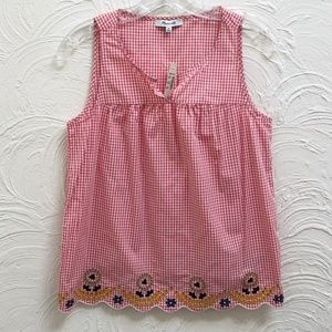 Madewell Embroidered Gingham Tank Top NWT XS